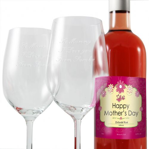 Personalised Mothers Rose Wine and Two Glasses
